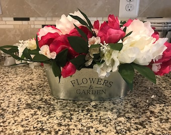 Lush Faux Pink and White Floral Arrangement