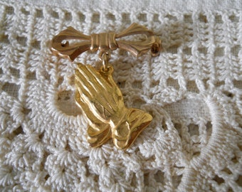"Vintage Prayer Hands Pin With Bow Religious Jewelry ""Pray For Peace"" Inscribed On Back Vintage Jewelry"