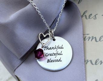 Thankful Grateful Blessed stamped pendant necklace with Heart charm All Sterling Silver 18 inch chain