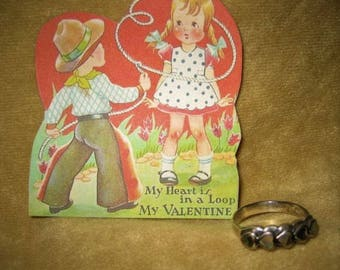 Sterling Abalone Heart Ring 7 3/4 Vintage