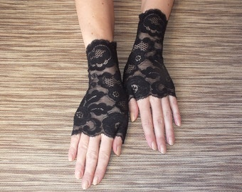 Lace gloves, Black Lace Gloves, Fingerless Gloves, Lace Gloves Black, Gloves, Cuff Lace Glove, Short gloves, women lace gloves, Patry gloves