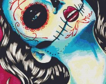 Modern Cross Stitch Kit 'Viva Los Muertos' By Carissa Rose Day of the Dead Sugar Skull Needlecraft Kit