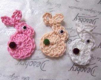 Set of Six Crochet Bunny Appliques. Handmade Crochet Bunny Appliques.
