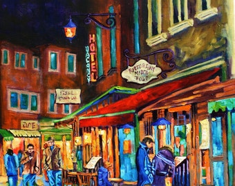 Giclee Canvas Print Colorful Night art People Food wine art Oil Painting on canvas print Landscape wall decor Print decor