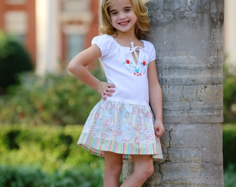 Clock Embroidered Cotton Dress for Girl