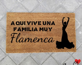 "Doormat ""Here lives a very Flemish family"""