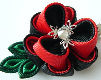 Kanzashi fabric flower hair clip. Red and black.