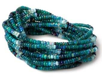 Turquoise Blue Green Opal Faceted Rondelles