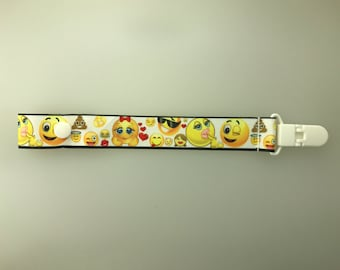 Emoji Pacifier Holder with snap or string option