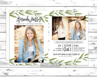 watercolor branches graduation invitation, card, college announcement, senior, college open house, high school, PRINTABLE or PRINTED CARDS