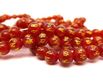5 beads of orange red Agate stamped gold six words mantra 8 mm