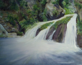 """""""Waterfall in the Luxembourg"""" painting, acrylic on canvas"""