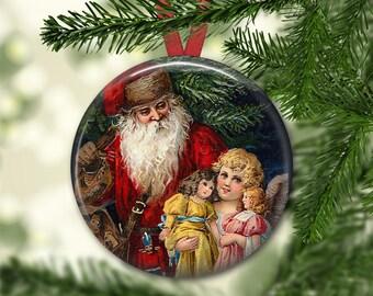 Christmas magnet, victorian santa decoration, christmas decoration, holiday decor, kitchen decor, large magnet, oversize magnet  MA-1322