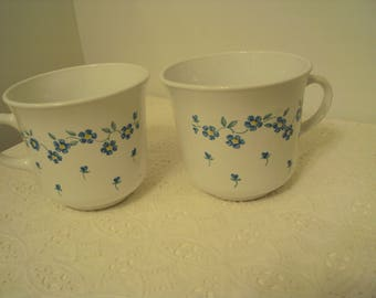 Corelle Forget Me Not (rim) discontinued pattern, 2 coffee cups