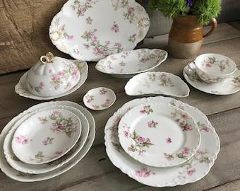 Haviland Limoges Dinnerware Set, 54 Piece Set, France Serving Set, Pink Floral Cabbage Roses, 1890's Haviland Co, Collectible China