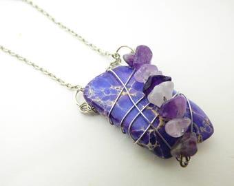Purple Jasper Wire Wrapped Necklace