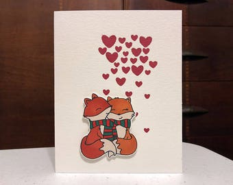 Hugging Loving Foxes Card