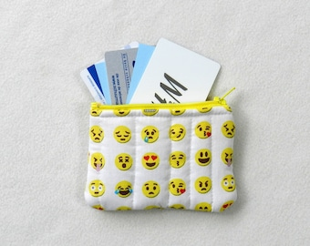 Tiny zipper pouch - Mini pouch - Emojis - Travel pouch - Accessories case - Yellow coin purse - Credit card case - White mini pouch