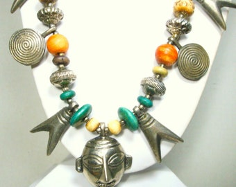 Long Tribal Bead and Charm Necklace w Mask Pendant, Oxbone, Wood, Silver Charms & Beads, Oxidized, Darkened, From India, 1980s