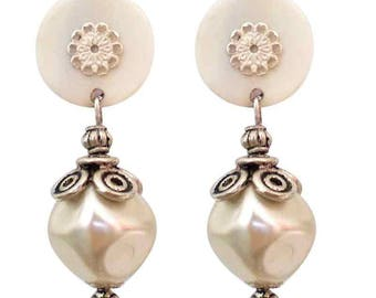 Earrings clip Pearl ball (made in France)