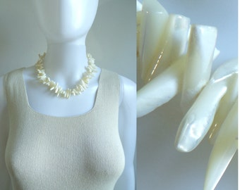 ivory ceramic statement necklace, 80s chunky bead necklace, 1980s beaded vintage necklace, costume jewelry, jewellery