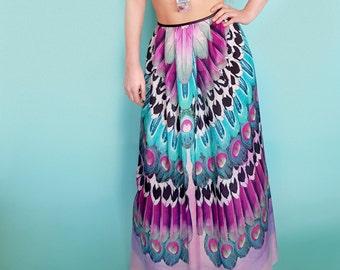 Pink Feather Skirt - Silk Skirt - Maxi Skirt - Occasion Skirt - Bohemian Clothing - Festival Clothing