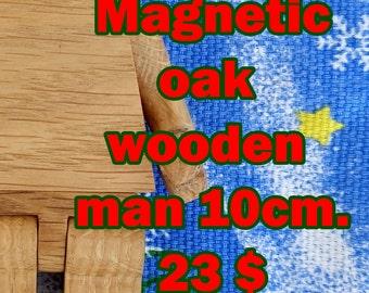 Magnetic wooden toy man 10cm Cake topper Superhero Christmas brick toy Wooden doll figure Christmas gift Montessori waldorf Eco friendly