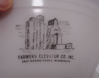 Federal Glass Batter Bowl, Advertising for East Grand Forks Farmers Elevator