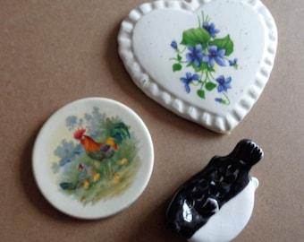 3 Great  Vintage  Focal Tiles for Mosaics Heart  Violets Rooster Bird