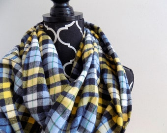Sunny Skies Flannel Plaid Infinity Scarf Mens or Womens Plaid Infinity Scarf Girls Fashion Circle Scarf Blue Black and Yellow Plaid
