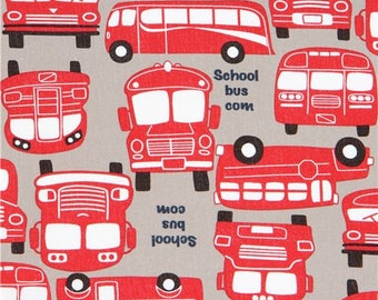 214041 taupe with red bus oxford fabric by Kokka