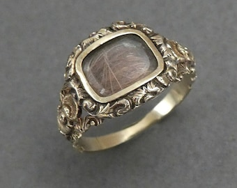 14K Georgian Red Hair Mourning Ring  size 5