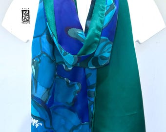 Silk Scarf Women Green, Charmeuse Silk Scarf Long, Blue and Green Floral Scarf, Japan Scarf, Blue and Green Peony, Reversible Scarf,