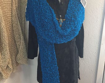 Cotton  Ruana, Hand Knit in Peacock Blue Yarn