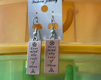 Wiccan Rede Law of Three Earrings