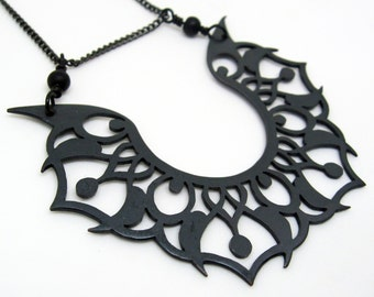 Tribal tattoo pattern black copper pendant large edgy and eye catching