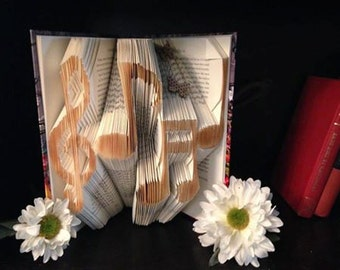Music Note Folded Book Sculpture- Book sculpture - first anniversary gift for him or her - Husband Wife Anniversary Date - Wedding Gift