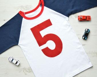 Raglan 5th Birthday Outfit   Fifth Birthday Outfit   5th Birthday Outfit   Navy Raglan Appliqué 5