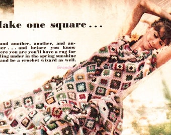 Granny Squares Crochet Afghan Pattern - Throw Blanket - Vintage Lap Blanket - PDF Instant Download - Digital Pattern - 70s Retro Afghan
