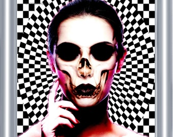 Hypnotic Skull Face Woman Art Print 8 x 10 – Futuristic Visionary Festival Artwork - Pop Art - Psychedelic - Surreal - Trippy - Surrealism