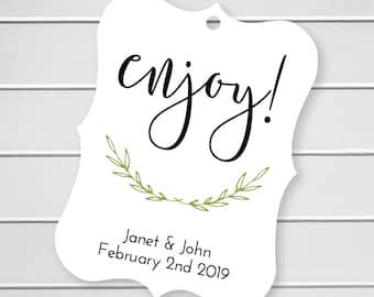 Enjoy Shower Favor Tags, Customized Wedding Tags, Wedding Favor Tags  (EC-010)