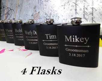 4 Personalized Flask Set // Father of the Bride Flask // Father of the Groom Flask // Grandfather of the Bride // Mother of the Bride