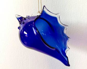 Blown Glass Ornament Suncatcher, Christmas Cobalt Blue, Holiday Decor, Tree Decorations