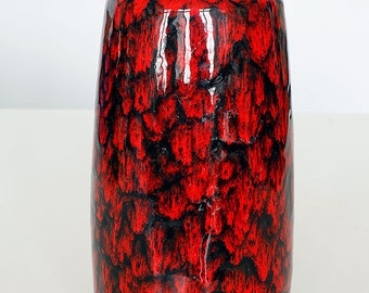Shiny red and black glazed vase 203-26 made by Scheurich, West German Pottery, 60'ties