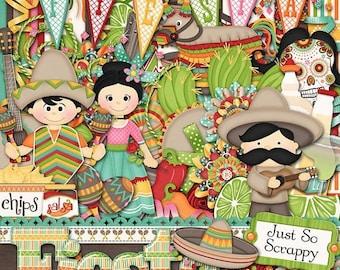 On Sale 50% Digital Scrapbooking Kit Fiesta - Digital Scrapbook Kit