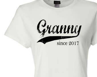 Granny since ANY year, screen print t-shirt, custom womens fitted tee, new grandma gift, grandmother gift, Christmas gift