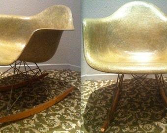 EAMES SEAFOAM GREEN Ultra Rare Rope Edge Herman Miller Zenith Center X Rocking Chair Rocker Earliest Eames Chair Most Collectible