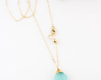 Simple Aqua Chalcedony Gemstone Necklace, Layering, Dainty, Healing, Handmade, 14k Gold Filled, Simply Me Jewelry Aqua Gemstone, SMJNK430