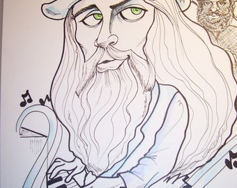 Leon Russell Rock Portrait Rock and Roll Caricature Music Art by Leslie Mehl