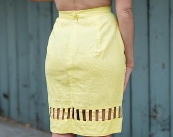 Vintage 80s does 60s Linen Cut Out Skirt in Yellow Linen Small S